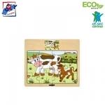 """Woody 93010 Eko koka attīstošā puzle """"Gotiņas"""" (12gab.) bērniem no 3 gadiem + (17x13cm)"""