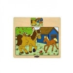 """Woody 93010 Eko koka attīstošā puzle """"Zirgi"""" (12gab.) bērniem no 3 gadiem + (17x13cm)"""