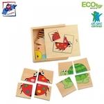 Woody 90328 Eko koka attīstošā mini puzle koka kastītē - Kukaiņi un dzīvnieki (16gab.) bērniem no 2 gadiem + (11x11cm)