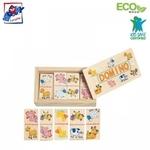 Woody 90021 Attīstoša Eko koka spēle mini domino - Dzīvnieki (28gab.) bērniem no 3 gadiem + (12x7сm)