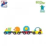 Woody 93057 Eko koka attīstošs komplekts - Vilciens un vagoni ar magnētiskiem elementiem (4gab.) bērniem no 3 gadiem + (27.5cm)