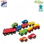 Woody 90574 Eko koka attīstošs komplekts Mašīnas un vilcieni ar magnētiskiem elementiem (11gab.) bērniem no 3 gadiem + (30cm / 23cm / 6cm)