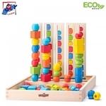 Woody 90469  Eko koka attīstošā Loģikas spēle pērlīšu secības šķirošana (55gab.) (32x33cm)