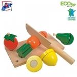 Woody 90081 Eko koka attīstoša spēle māca griezt Augļus un dārzeņus bērniem no 3+ gadiem (19x10.5x6cm)