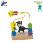 Woody 90662 Roku un pirkstiņu motorikas Attīstošs Eko koka mini labirints bērniem no 2 gadiem + (10x13cm)