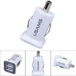 USAMS Original 3.1A 12-24V Mini Micro Auto Dual USB Car Adapter Charger auto lādētājs adapteris
