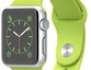 Apple Watch Sport 38mm Silver Aluminium Case Green Band pulkstenis
