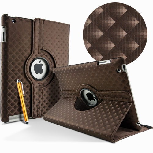Apple iPad 2 3 4 Leather Waeve Rotate 360° case cover stand brown maks soma