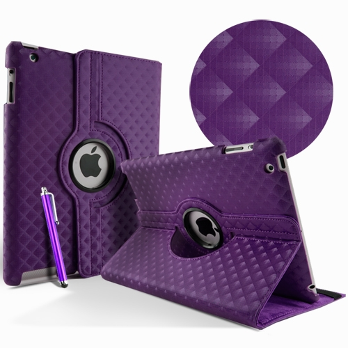 Apple iPad 2 3 4 Leather Waeve Rotate 360° case cover stand purple maks soma
