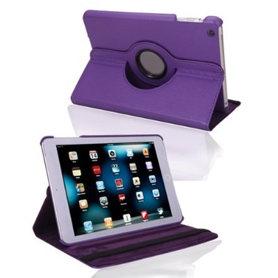 Apple iPad Mini/Mini 2 Retina 360° Rotate Leather Case Cover Purple Stand maks