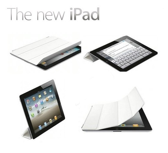 Apple iPad 2/3/4 Smart Cover Slim Magnetic Case Wake/Sleep Stand white