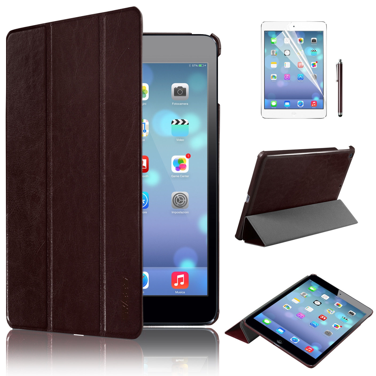 Apple iPad 5 Air Ultra Slim Leather Smart Magnetic Case Cover Stand Brown maks