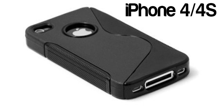 Apple iPhone 4/4S S Line Wave Silicone Back Case Cover Bumper Black maks