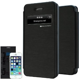 Apple iPhone 4/4S S-View Book Case Cover Flip Caller ID Black maks