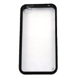 Apple iPhone 4/4S Clear Hard Coating Cover Back Case Bumper clear black maks