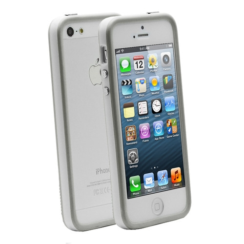 Apple iPhone 5 Bumper case cover clear white maks