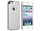 Apple iPhone 5 Luxury Brushed White Metal Aluminum Chrome Silver White Hard Back Case Cover maks