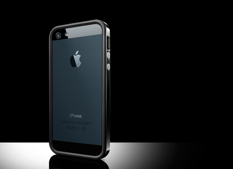 Apple iPhone 5 Bumper case cover solid black maks