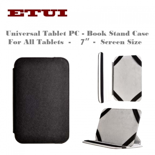 "Etui Slim Eco Leather Book Case with stand - Universal for all Tablet PC with 7"" screen Black"