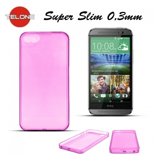 Telone Ultra Slim 0.3mm Back Case HTC One M8 super plāns telefona apvalks Rozā