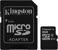Micro SD 8GB Class 10+ Adapter Kingston atmiņu karte